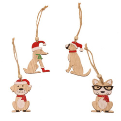 New Year Natural Wood Christmas Tree Ornament Creative Animal Christmas Party Pendant Car Decorations Pendant for Home 2019 5