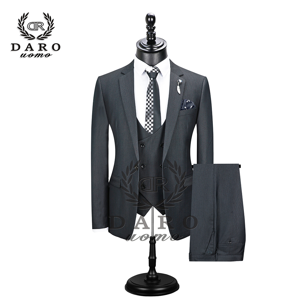 2019 New Men's Fashion Boutique Plaid Wedding Dress Suit Three-piece Male Formal Business Casual Suits DR8608