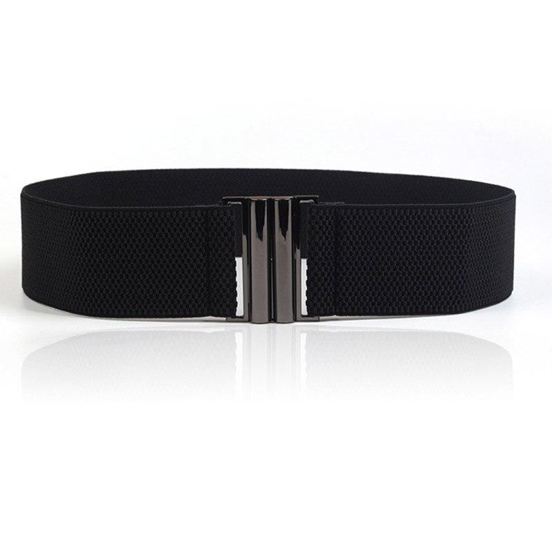 Women Elastic Band Wide Belts Simple Down Coat Waist Belt Female Buckle Black Strap Dress Decoration Accessories