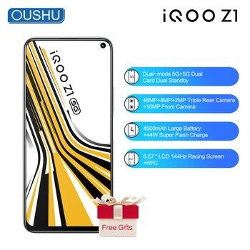 Перейти на Алиэкспресс и купить Смартфон vivo IQOO Z1, в наличии, с двойной картой памяти, двойной режим ожидания, NFC, 48-мегапиксельная Тройная задняя камера, 6,57 ''ЖК-экран, 8G128G моби...