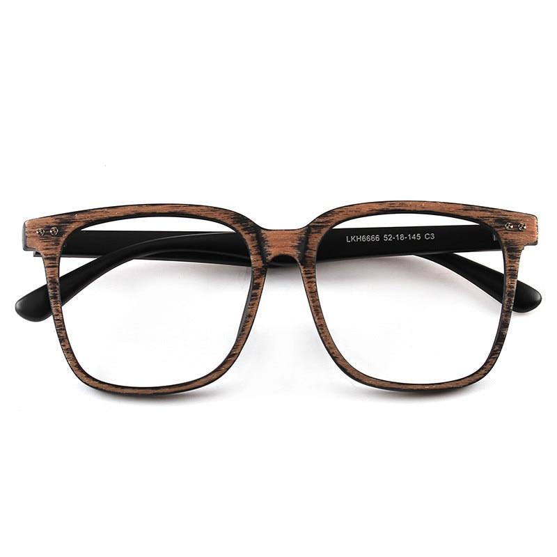 Men And Women Unisex Big Square Wooden Pattern Fashion Retro Optical Spectacle Eyeglasses Glasses Frame Vintage Eyewear