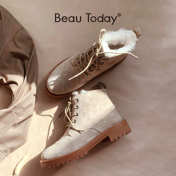BeauToday Wool Snow Boots Women Genuine Leather Round Toe Lace-Up Platform Winter Ladies Ankle Length Shoes Handmade 03281 - discount item  48% OFF Women's Shoes
