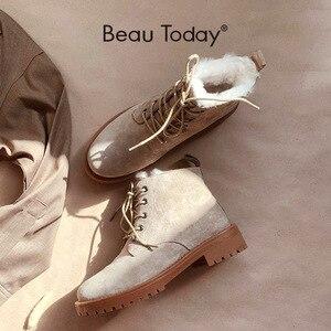Image 1 - BeauToday צמר שלג מגפי נשים אמיתי עור עגול הבוהן שרוכים פלטפורמת חורף גבירותיי קרסול אורך נעליים בעבודת יד 03281