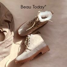 Beautodayウールの雪のブーツ女性の本革ラウンドトゥレースアッププラットフォーム冬の女性の足首の長さの靴手作り03281