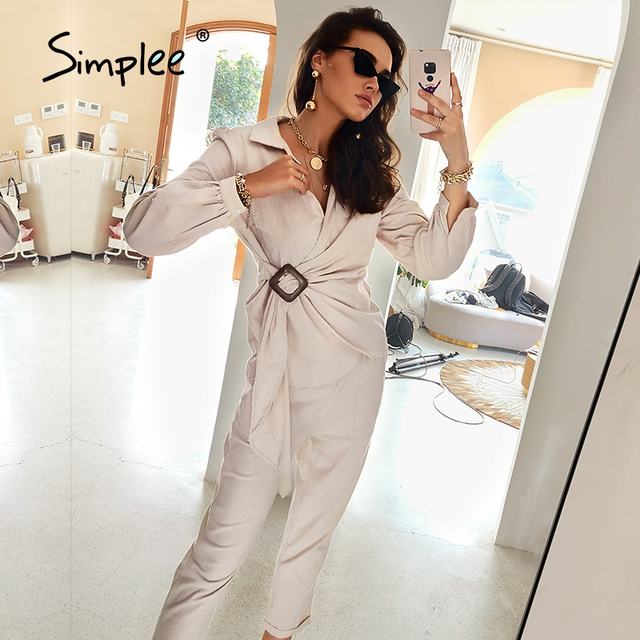 Simplee Casual spring solid wrap women sets office lady V-neck long sleeves two piece set female Elegant cotton sash suits slim 1