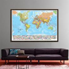 De Wereld Politieke Fysieke Kaart 150X225Cm Opvouwbare No Fading Wereldkaart Met Nationale Vlaggen Grote Poster voor Cultuur Onderwijs