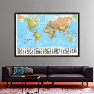 Image 1 - The World Political Physical Map 150x225cm Foldable No fading World Map with National Flags Large Poster for Culture Education