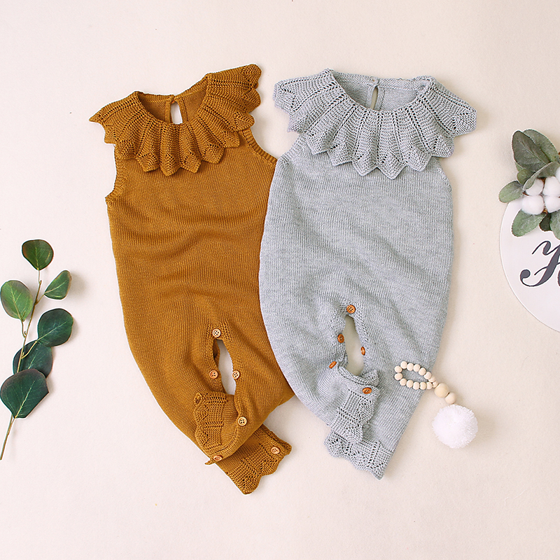Baby Rompers Autumn Newborn Knitted Baby Clothes Ruffle Baby Girl Romper Woolen Princess Infant Baby Jumpsuit Girls Clothes