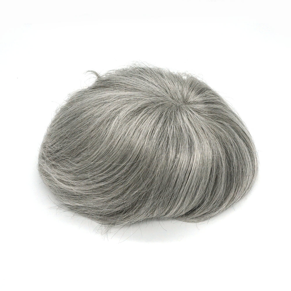 Hstonir Natural Hair Men Toupee Super Thin Skin Hair Replacement Indian Remy Hair H078