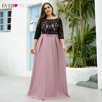 Plus Size Satin Prom Dresses Ever Pretty EP07866 A-Line O-Neck Bow Sashes Half Sleeve Black Lace Formal Vestidos Fiesta - discount item  35% OFF Special Occasion Dresses