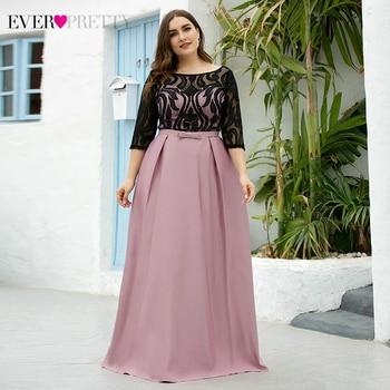 Plus Size Satin Prom Dresses Ever Pretty EP07866 A-Line O-Neck Bow Sashes Half Sleeve Black Lace Formal Dresses Vestidos Fiesta