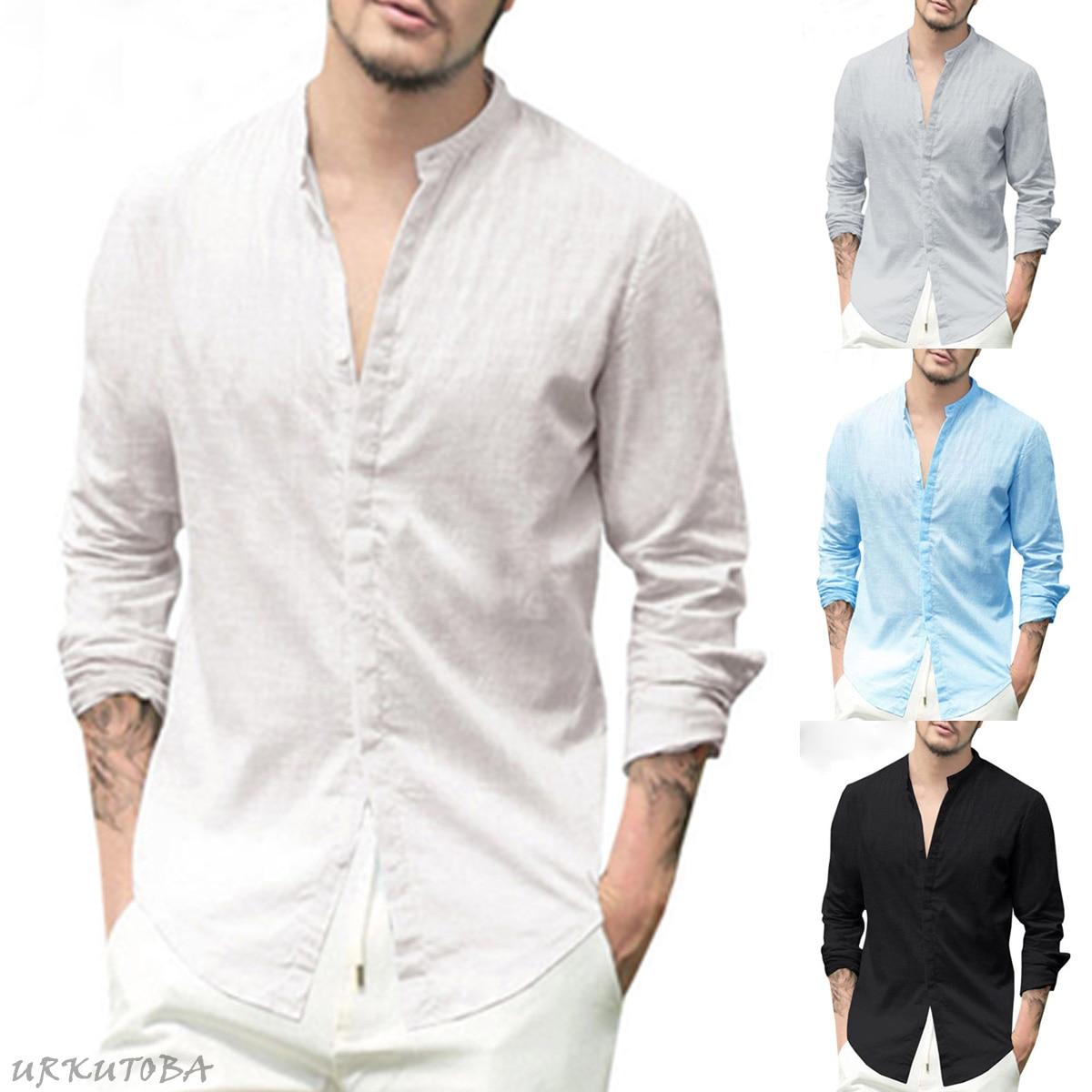 Men/'s V Neck Long Sleeve Linen Shirt Button Slim Fit Casual T-Shirt Tops Blouse