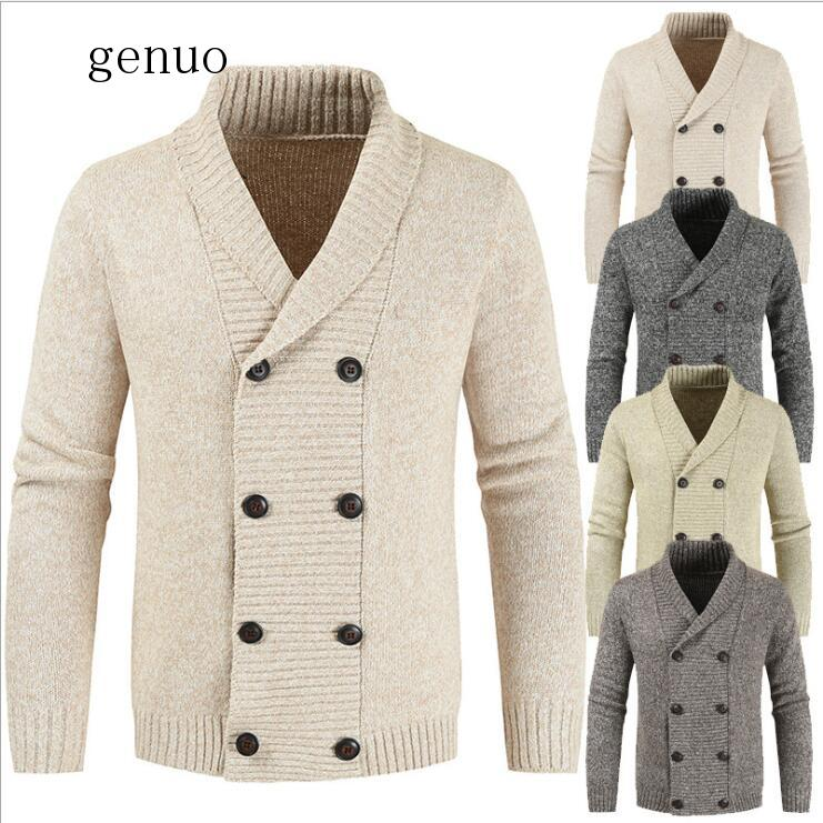 Men Winter Thick Double Breasted Cotton Cardigan Sweater Jumpers Men 2020 New Warm Cashmere Fashion Outwear Coats Men
