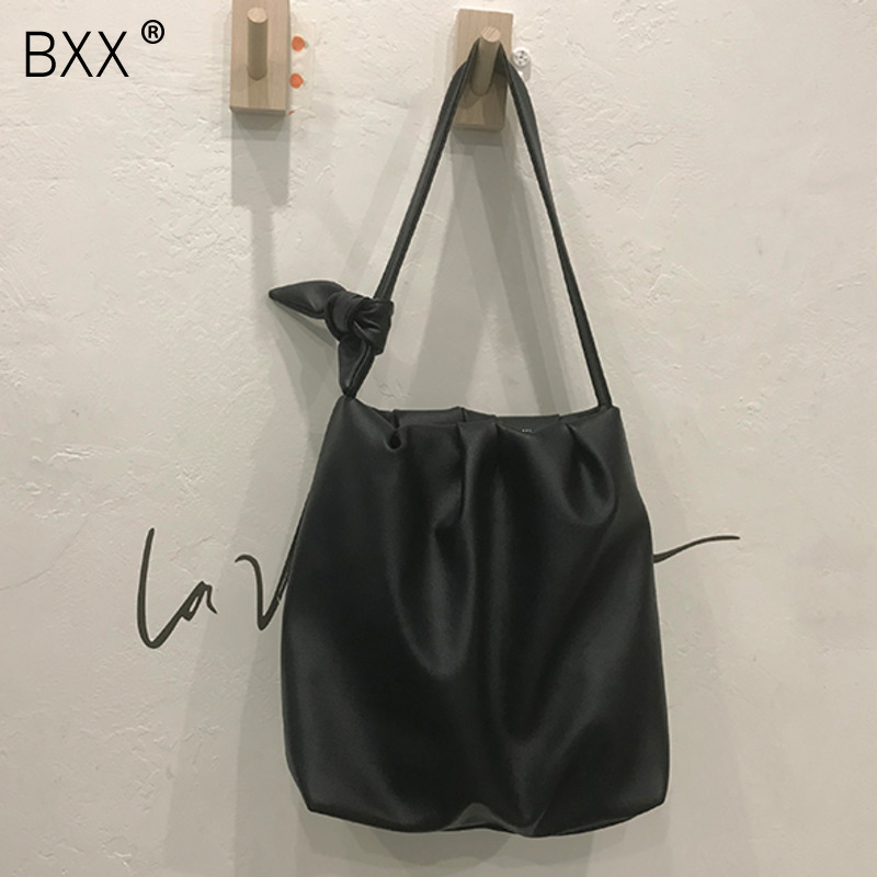 [BXX] PU Leather Pleated Bags For Women 2020 Fashion Shoulder Messenger Bag Lady Solid Color Large Capacity Handbags HK466
