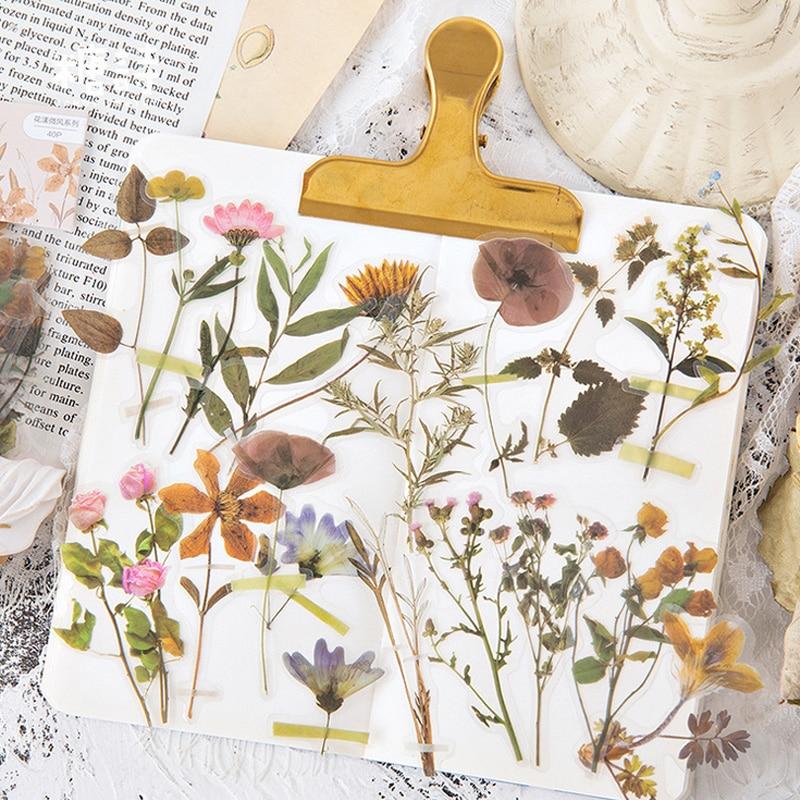 40 Pcs/Lot Beautiful Flowers Plant Decoration Paper Sticker Package DIY Diary Decoration Sticker Album Scrapbooking