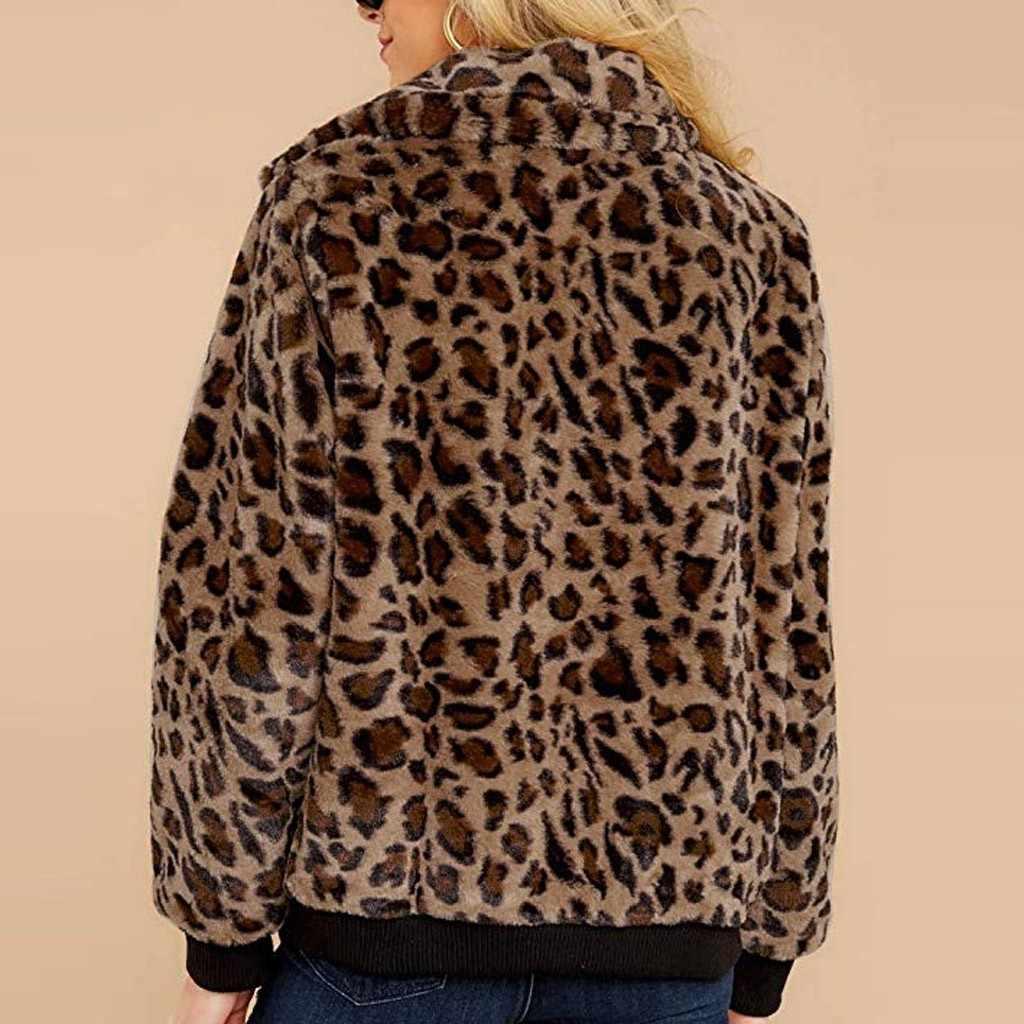 הדפס מנומר רוכסן מעיל נשים ארוך שרוול Streetwear חולצות 2019 אופנה סתיו מקרית רחב מימדים פו מעילי פרווה