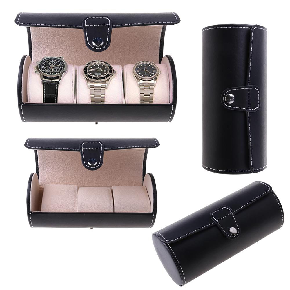 Leather Barrel Style Carrying Case Travel Display Box Storage Bag For Watch