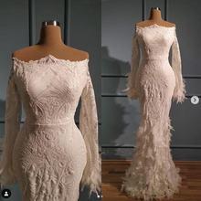 Женское вечернее платье с открытыми плечами кружевное длинным
