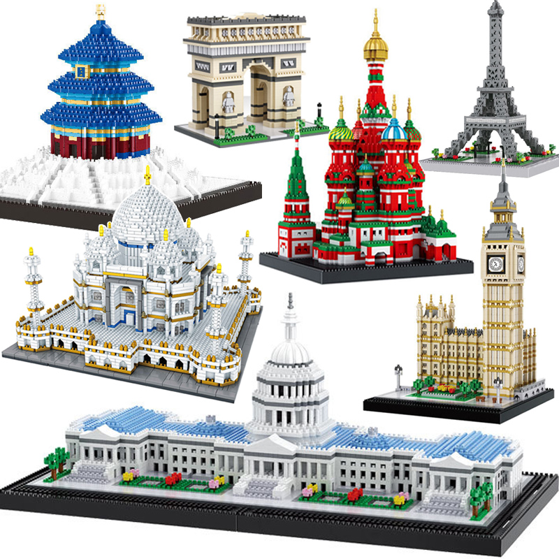 Balody Architecture Yellow Crane Tower DIY Diamond Mini Nano Blocks Building Toy