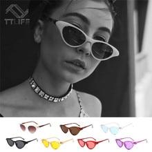 TTLIFE Retro Cat Eye Sunglasses Women Oculos De Sol Red Sun Glasses Yellow Frame Sunglasses Brand Designer Small Cateye Glasses все цены