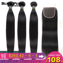 Black Pearl Straight Hair Bundles With Closure Non Remy Human Hair 3 Bundles With Closure