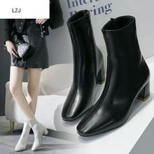 LZJ White Black Women Boots 2019 Comfy Square High Heel Ankle Boots Fashion Pointed Toe Zipper Boots Autumn Winter Ladies Shoes(China)