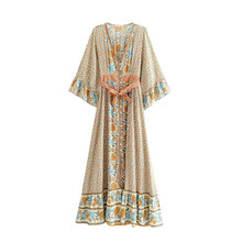 Dress Chic Maxi Women Summer Vintage Floral Print With Sashes Long 2019 Fashion Kimono Sleeve Beach