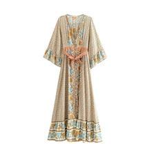 Dress Chic Maxi Women Summer Vintage Floral Print With Sashes Long Dress Women 2019 Fashion Kimono Sleeve Maxi Beach все цены