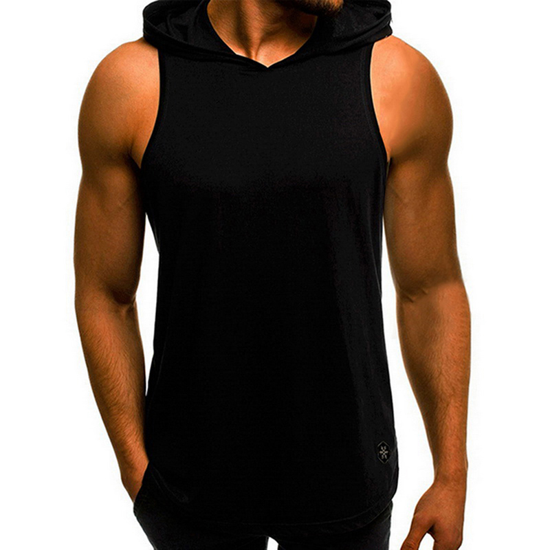 Mens 2019 Fashion muscle Sleeveless Hoodie Bodybuilding Workout <font><b>Tank</b></font> <font><b>Tops</b></font> shirts Fitness Shirts Male Loose Jackets Gyms Singlet image