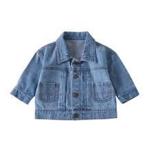 Baby Boys Girls Denim Jacket Autumn Winter Jackets  Kids Outerwear Back Cartoon Print Coats For Children Toddler Clothes 9M-4T недорого