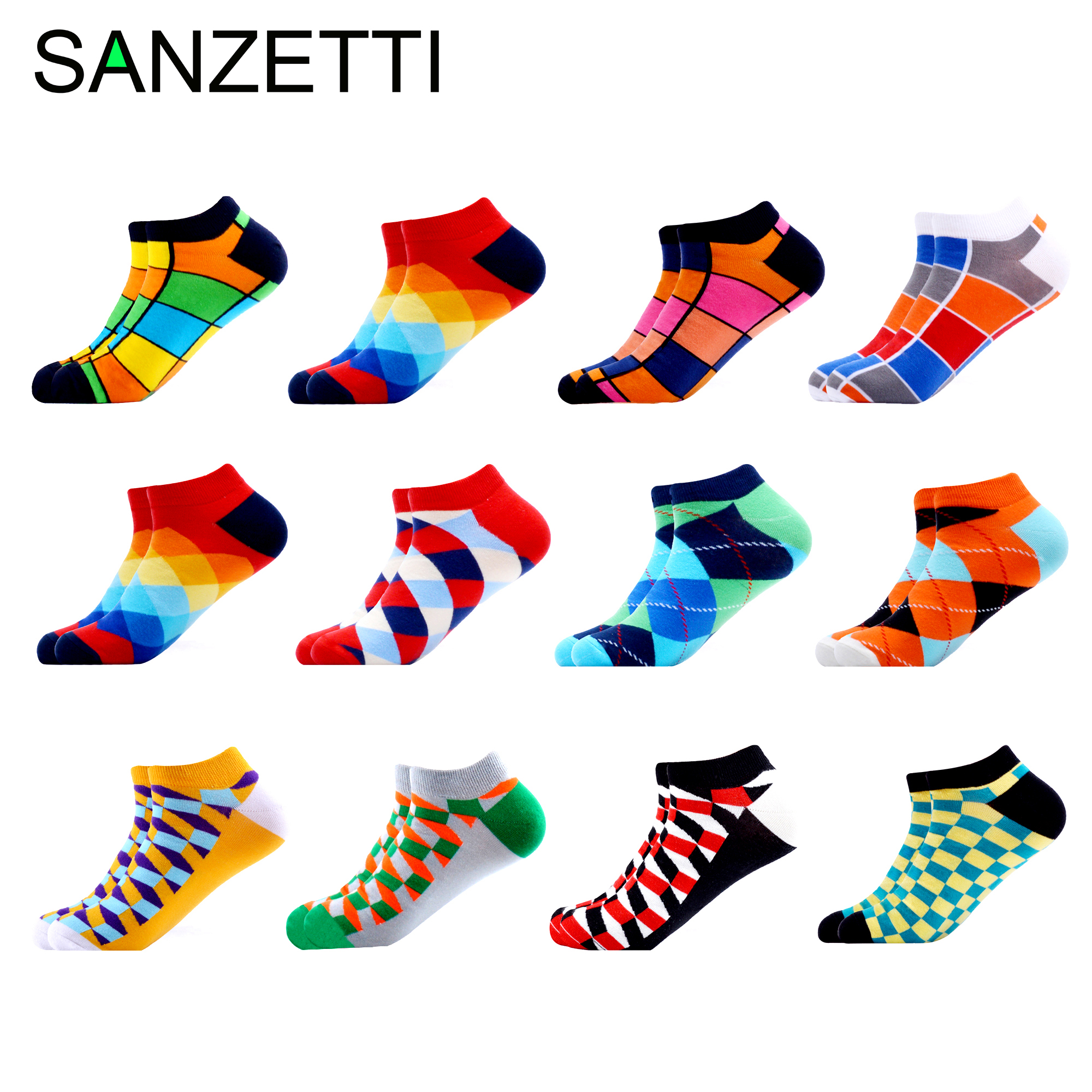 SANZETTI 12 Pairs/Lot Men's Casual Novelty Colorful Summer Ankle Socks Happy Combed Cotton Short Socks Plaid Dress Boat Socks