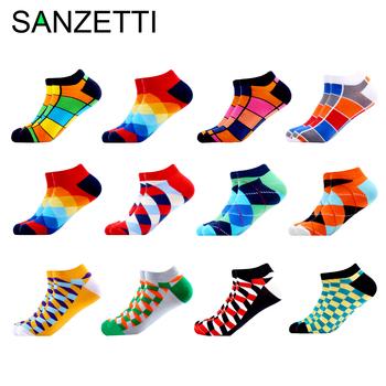 SANZETTI 12 par partia męskie skarpetki w stylu casual nowość kolorowe lato szczęśliwa czesana bawełna krótkie skarpetki sukienka w kratę skarpetki łodzi tanie i dobre opinie STANDARD Na co dzień NYLON spandex COTTON B05219 Kostki Skarpety men socks man socks cotton socks Adults Breathable Comfortable