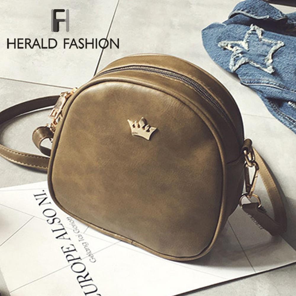 Herald Fashion Women Crown PU Leather Shoulder Bags Women Small Solid Classic Cross Body Messenger Bag Handbag Female Shell Bags