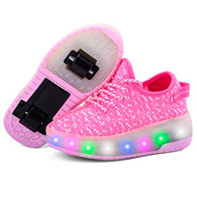 Kids Sneakers Heelys LED Kids Children Roller Skate Shoes Glowing Roller Shoes air boys&girls Roller Skate Luminous Shoes(China)