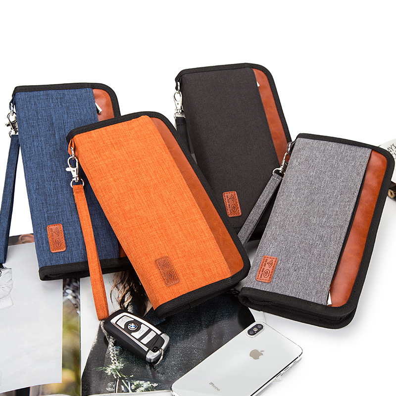 High Quality Men Passport Covers Travel Card Package Ticket Passport Holder Anti-RFID Document Bag Long Section Organizer Wallet