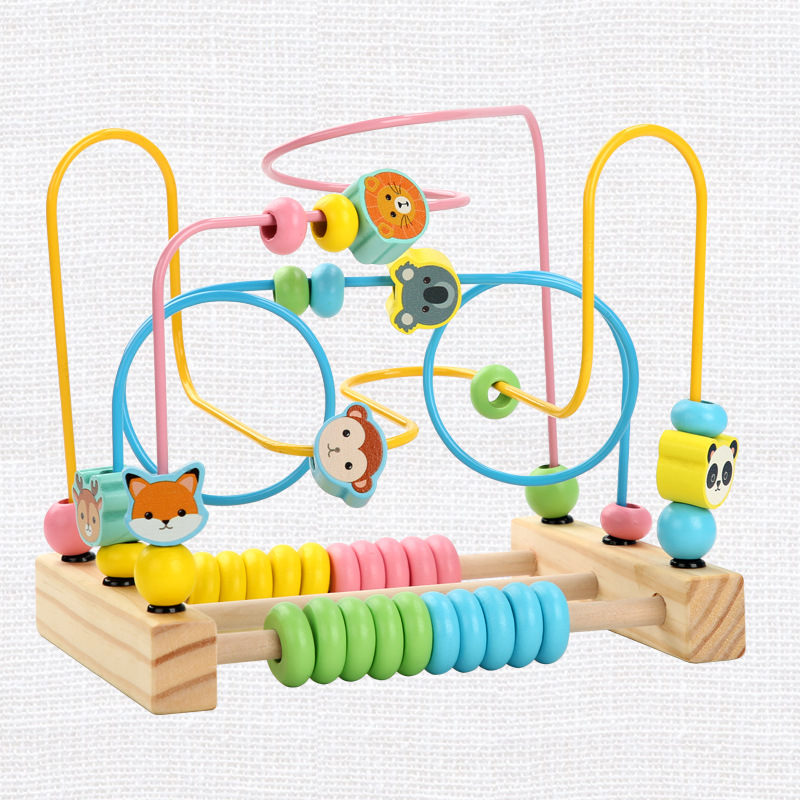 Wooden Animal Fruit Bead-stringing Toy Building Blocks Large Bead-stringing Toy Exercise Hand-Eye Coordination Baby Beaded Brace