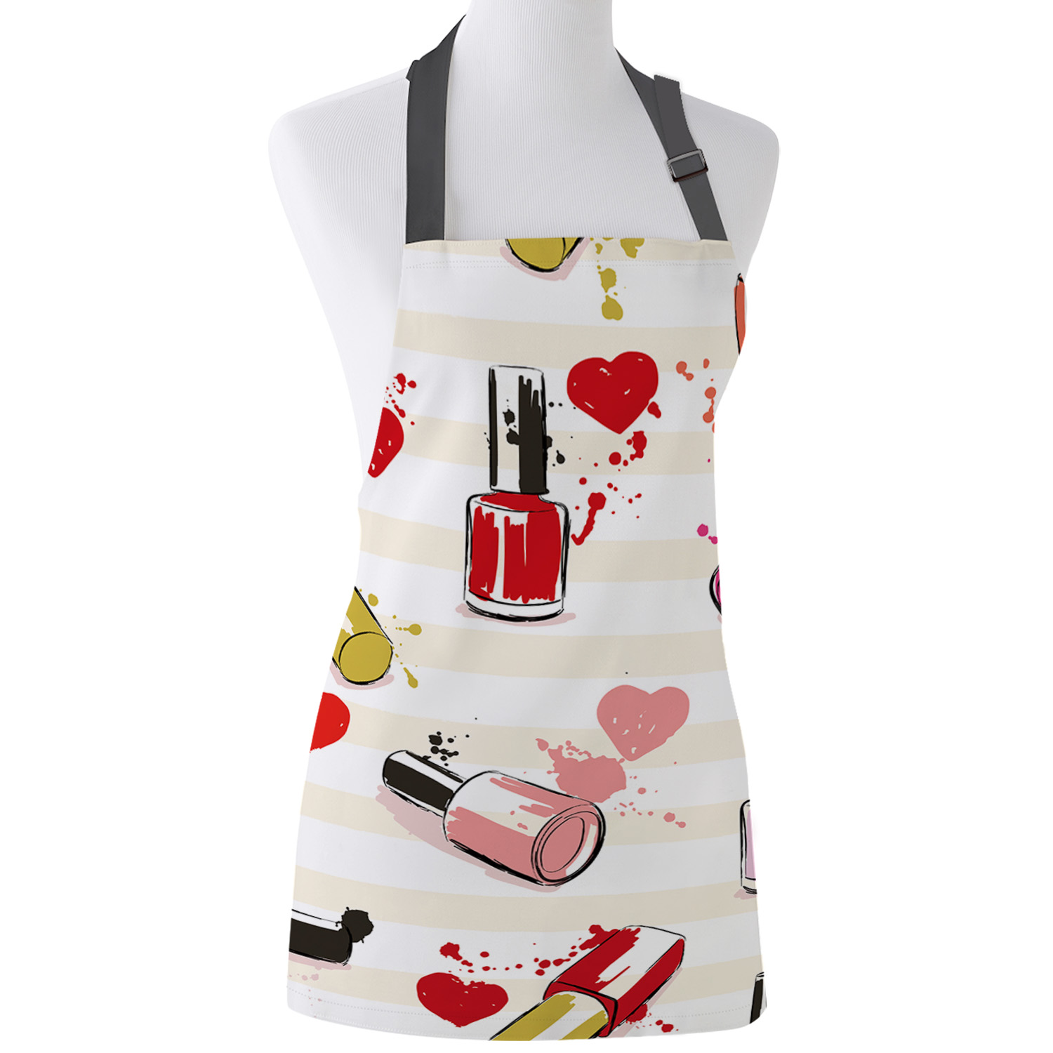 Tophome Kitchen Apron Cosmetic Nail Polish Female Cartoon  Adjustable  Canvas Aprons For Men Women Kids Home Cleaning Tools