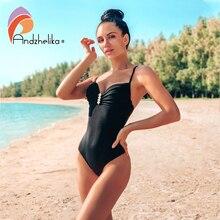 Andzhelika maillot de bain pour femmes, ensemble une pièce Sexy avec bretelles avec diamants, Push Up, couleur solide, Monokini, vêtements de plage, nouvelle collection 2020
