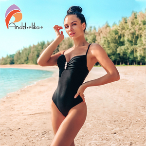 Image 1 - Andzhelika maillot de bain pour femmes, ensemble une pièce Sexy avec bretelles avec diamants, Push Up, couleur solide, Monokini, vêtements de plage, nouvelle collection 2020