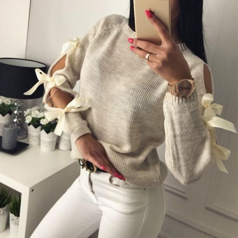 2020 Winter Women Knitted Pullover Lace Up Sweaters Casual Long Sleeve Hollow Out Bow Pull Femme Fashion Ladies Sweter Plus Size