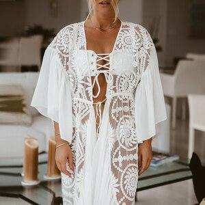 Image 2 - Ropa de playa blanca de malla 2020 para mujer, kimono con volantes, traje de baño para cubrirse, Vestido largo de playa, trajes de baño de verano, bañadores, novedad