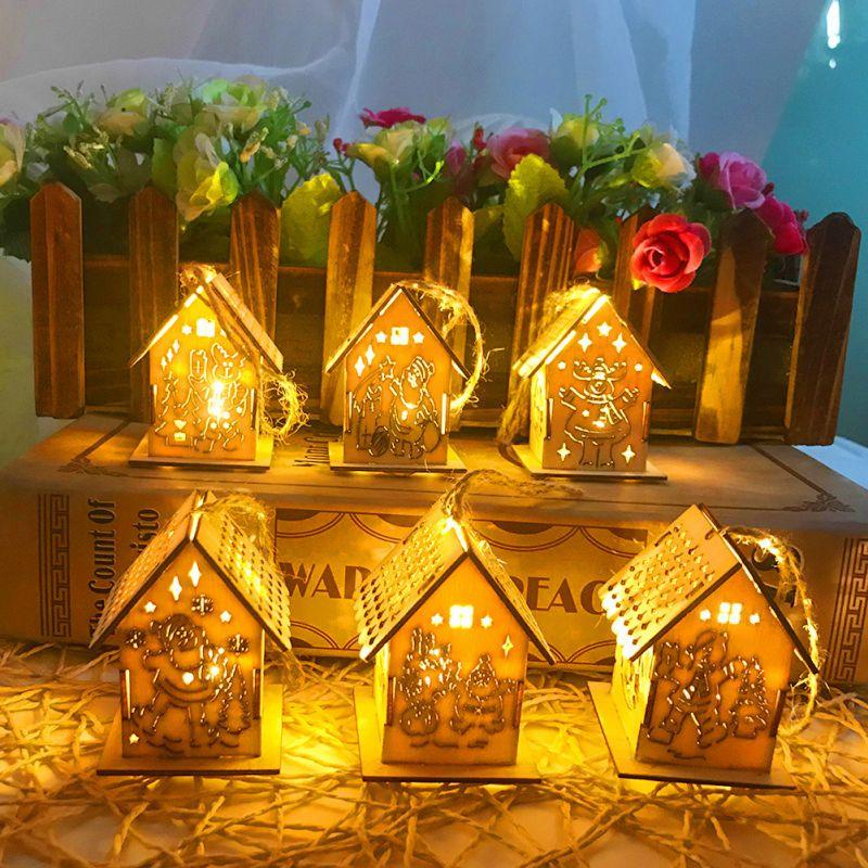 Светодиодный деревянный дом, украшение для семейного сада, рождественской вечеринки, свадьбы, праздника, вечеринки, елки - 6
