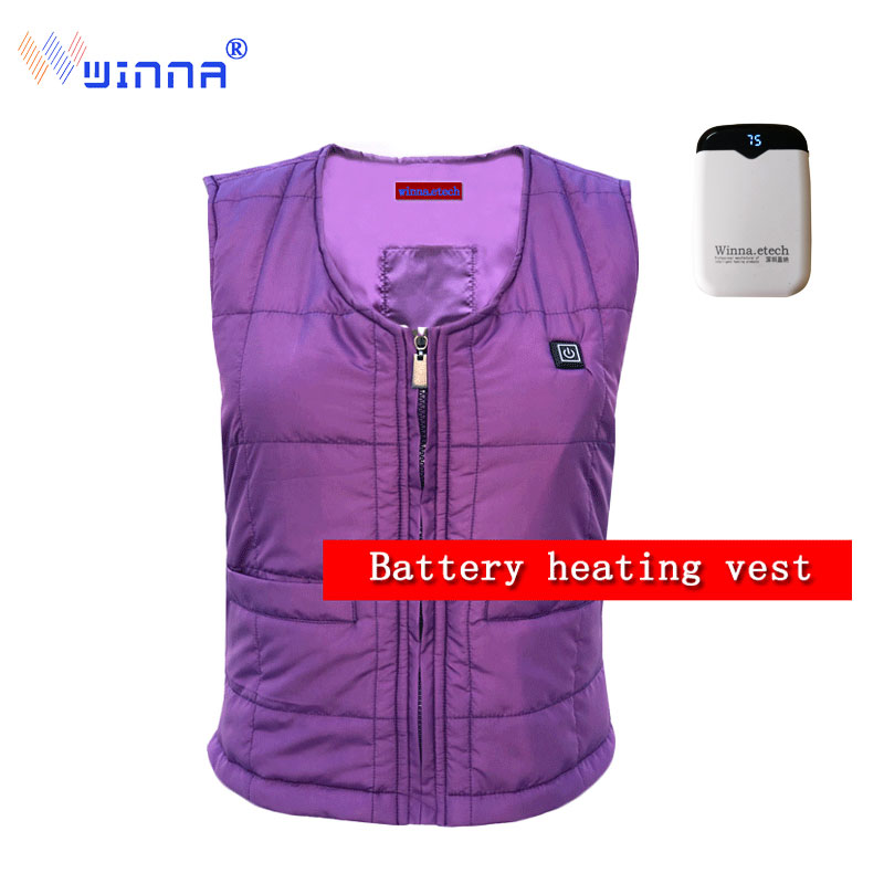 Winter Warm Down Cotton Heated Vest Women Vest 3 Level Temperature Control Thermal Hiking Eletric Heating
