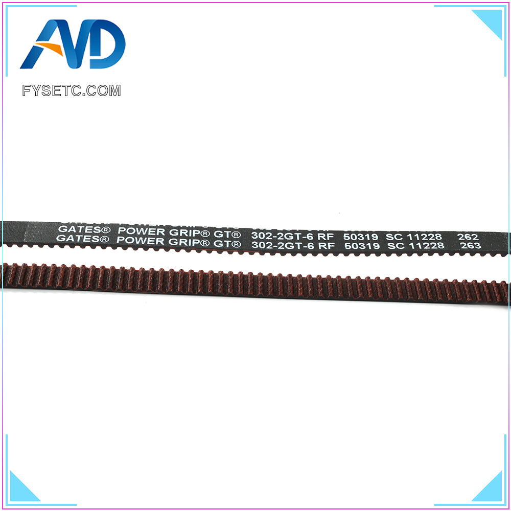 GATES-LL-2GT 3D Printer 2GT Belt Closed Loop Fiberglass Reinforced Rubber GT2 Timing Belt 2GT-6 Length 302mm Width 6mm