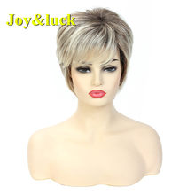 Joy&luck Fashion Blonde Mixed Brown Short Straight Wigs Synthetic Wig for Women