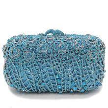Hollow Out Women blue green Crystal Clutch purse Evening Bag Diamond Metal Minaudiere Handbags Wedding Cocktail Dinner Purses