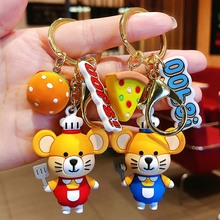 Korean Cute mouse key chain women Cartoon rat Bag keychains pendant trinket car key ring Chef burger bag charm