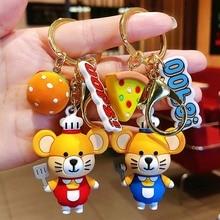 Korean Cute mouse key chain women Cartoon rat Bag keychains pendant trinket car key ring Chef burger bag charm