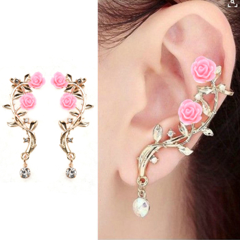 New Fashion Lady Gold Pink Rose Leaf Flower Ear Stud Cuff Earring Women Jewelry Pendientes Princesas Boucle D'oreille Cristal 1