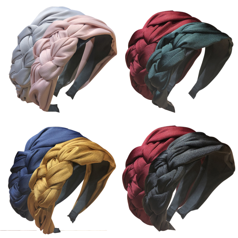 Fahion Solid Twist Knotted Headband Confortable Hair Band Wide-brimmed Hair Holder Accessories Styling Tool